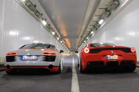 Te dejarán sordo: Audi R8 'vs' Ferrari 458 Speciale