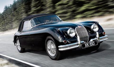 Menudo pastizal por este Jaguar XK150