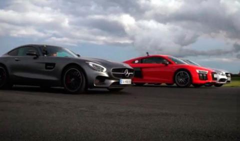 Drag race a tres: Audi R8/Mercedes-AMG GT S/Mercedes C63 S