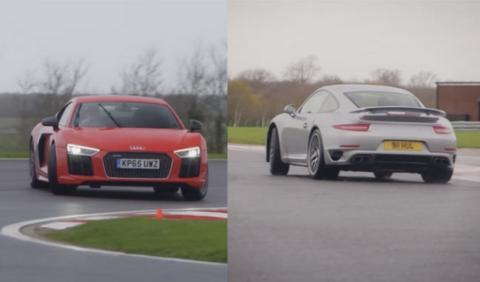 Porsche 911 Turbo S y Audi R8 V10 Plus: duelo sobre mojado