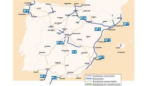 mapa autopistas peaje españa
