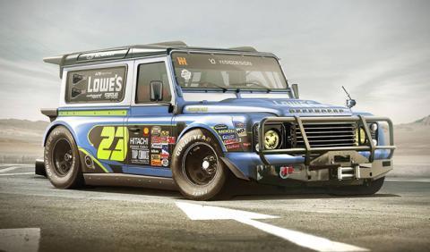 Un Land Rover Defender al estilo NASCAR