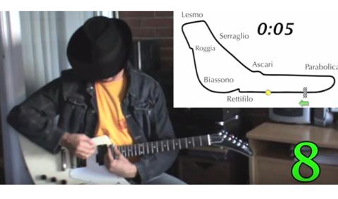Imita con su guitarra el sonido de los motores de F1