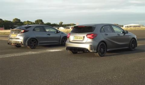 Drag race: Honda Civic Type R contra Mercedes-AMG A 45