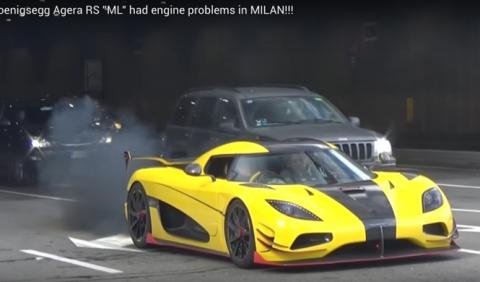 Koenigsegg Agera RS ML deja una estela de humo negro