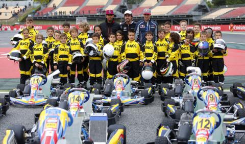 Alonso, Sainz y Hamilton, con las promesas del karting