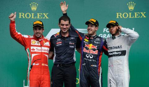 Alonso - Vettel - Hamilton - podio