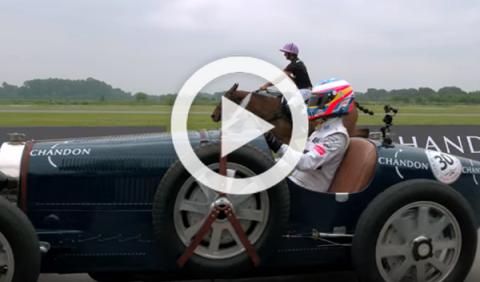 La curiosa carrera de Alonso con un Bugatti histórico