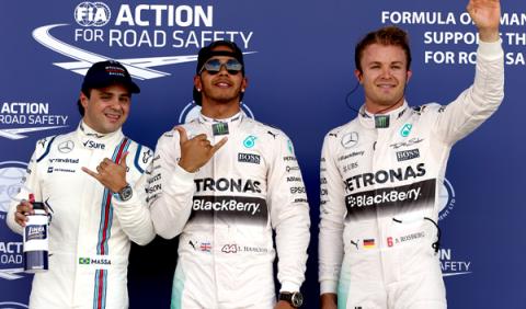 F1. Clasificación GP Gran Bretaña 2015: pole 46 de Hamilton