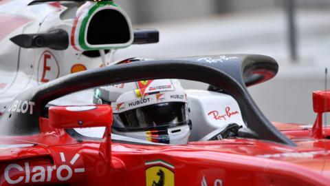 Sebastian Vettel, con el halo
