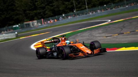 Fernando Alonso, durante el GP de Bélgica 2017
