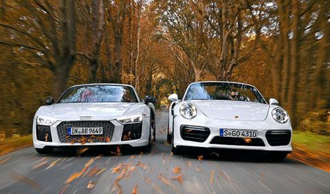 Audi R8 V10 Plus Spyder y Porsche 911 Turbo S Cabrio