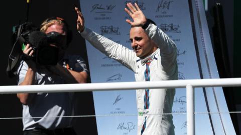 Felipe Massa, en el podio de Brasil