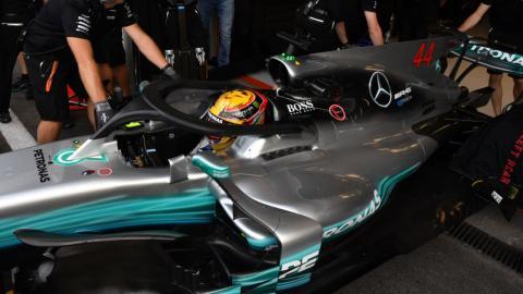 Lewis Hamilton, en el Mercedes F1 con halo