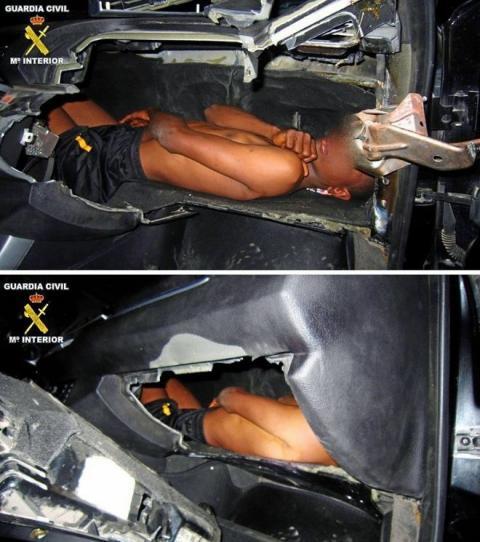 La Guardia Civil encuentra a un niño escondido en el salpicadero de un BMW