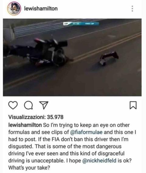 Hamilton mete la pata en Instagram
