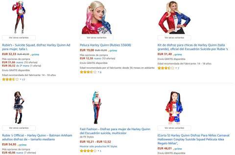 Disfraces de Harley Quinn en Amazon