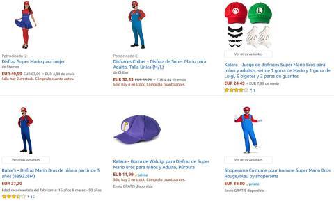 Disfraces de Super Mario en Amazon