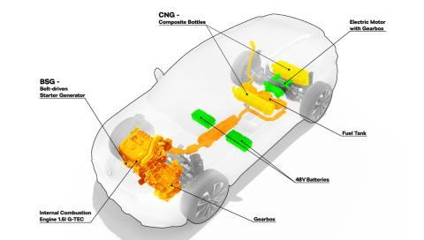 Skoda Vision X esquema técnico