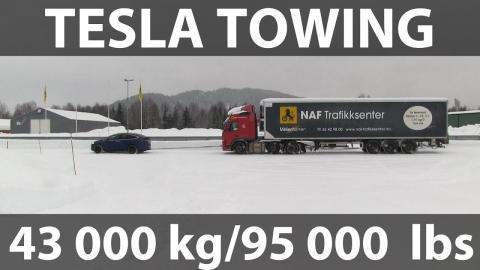 Tesla Model X remolcando 43.000 kilos