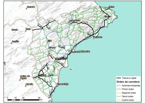 Mapa tramos de carretera con especial vigilancia en Alicante