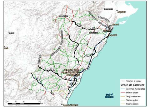 Mapas de carretera con especial vigilancia en Castellón