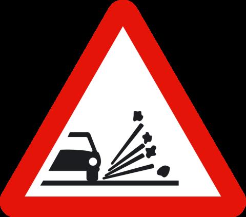 Señal de tráfico: proyección de gravilla