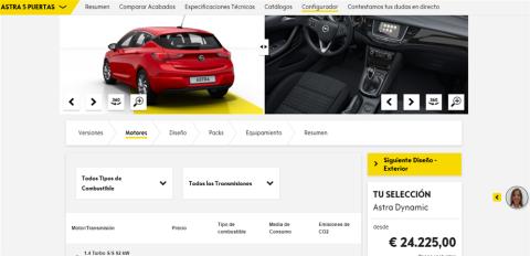 Configurador del Opel Astra (IV)