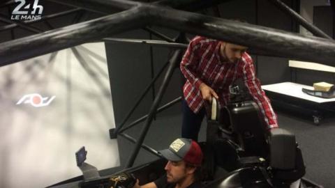 Fernando Alonso en el test en el simulador de Le Mans