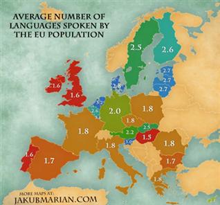 Este es el número de idiomas que hablan de media los europeos