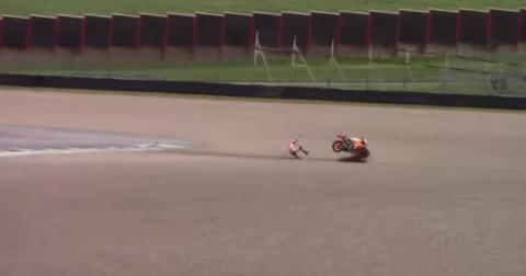 VÍDEO: Fortísimo accidente de Márquez en Mugello