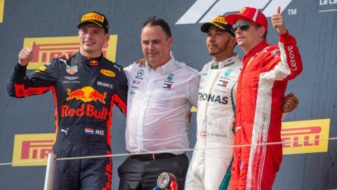 Max Verstappen en el podio del GP de Francia