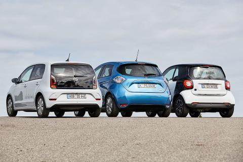 Renault Zoe vs Smart fortwo Electric Drive y Volkswagen e-Up