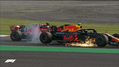 Accidente Vettel y Verstappen