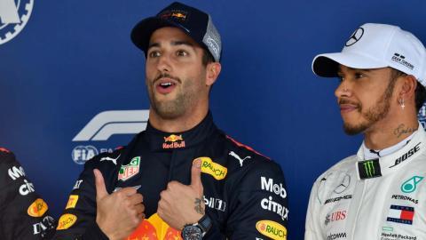 Ricciardo celebra su pole en México