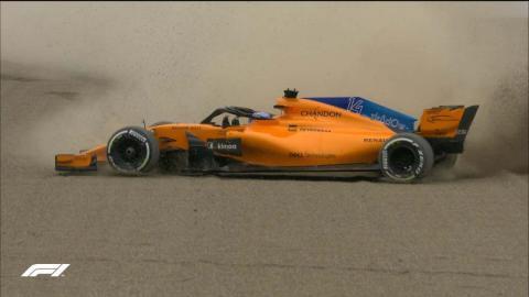 Salida de pista de Alonso en Japón