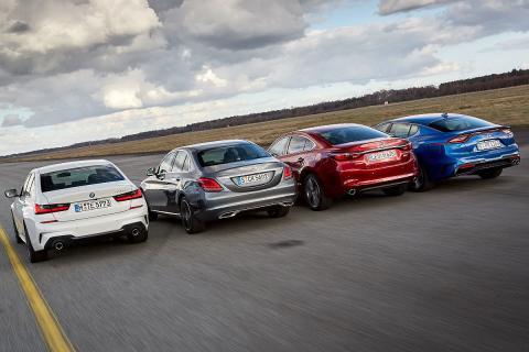 BMW Serie 3 vs Kia Stinger, Mercedes Clase C y Mazda6