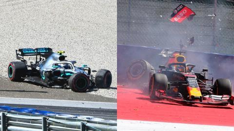 Accidente de Bottas y Verstappen en Austria
