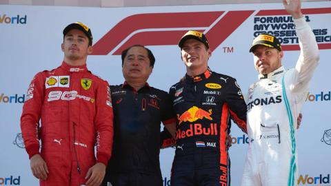Max Verstappen en el podio del GP de Austria