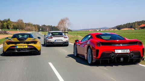 Comparativa del Ferrari 488 Pista, Porsche 911 GT2 RS y McLaren 720S Spider