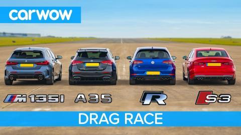 BMW M135i, AMG A35, Audi S3 y VW Golf R