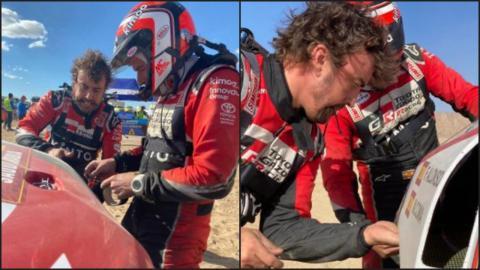Alonso y Coma reparan el coche del Dakar