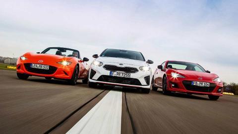Comparativa del Kia Ceed GT vs Mazda MX-5 y Subaru BRZ