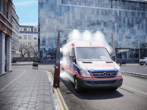 Arco que desinfecta coches en 15 segundos