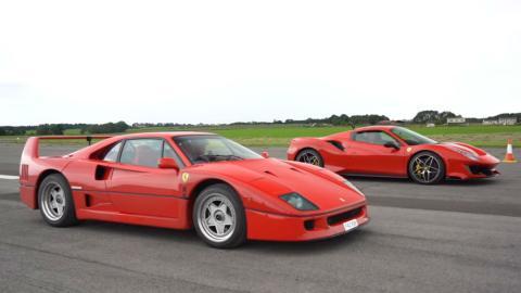 Ferrari F40 y Ferrari 488 Pista