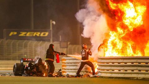Accidente de Romain Grosjean en Bahrein