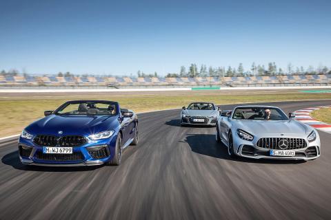 Comparativa de Audi R8 Spyder, BMW M8 Competition Cabrio y Mercedes-AMG GT R Roadster