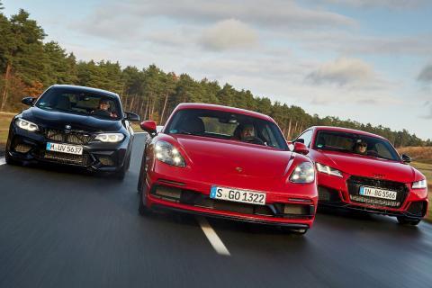 Audi TT RS vs BMW M2 Competition y Porsche Cayman GTS 4.0