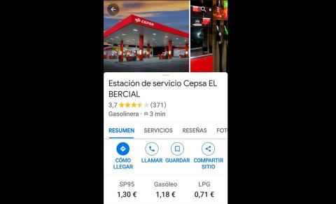 Precio gasolineras Google Maps