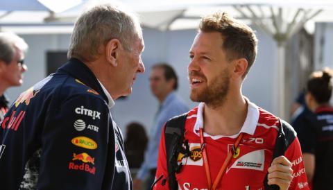 Sebastian Vettel y Helmut Marko